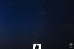 Silhouette Verlobungsbild-Sitzung in San Francisco unter Sternen gesetzt