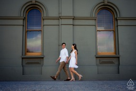 Australia urban stroll engagement photos at Fremantle during sunset