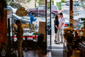 Urban life engagement photos in San Francisco outside a book store