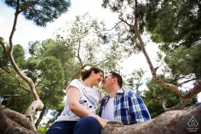 Low-angle, forest engagement picture session in Madrid, Spain of couple sitting on a branch