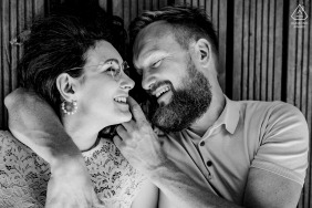 Overhead and fun engagement image of lovebirds from Witten Ruhrgebiet