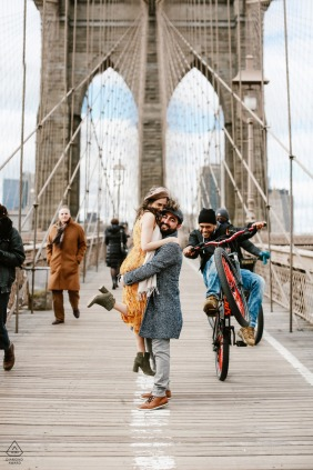 NYC, urban engagement photos on the Brooklyn Brigde