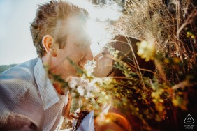 E-session of couple in the sunlight amongst flowers in Livermore, California