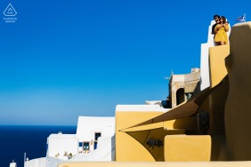 Pre wedding photography with a Couple and architecture in Santorini