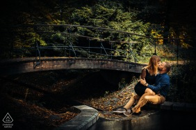 Zrodliska Park, Lodz, Poland engagement portrait session with Two lovers in park