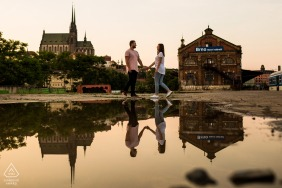 Brno engagement portraits near the great puddle of Brno