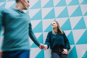 Virginia engagement photoshoot & pre-wedding session at Ballston Square, VAusing Motion Blur & Still Motion
