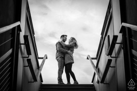 France engagement photoshoot & pre-wedding session from below on some stairs in Strasbourg