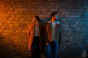 Strasbourg pre wedding and engagement photography from Strasbourg with lights and a brick wall