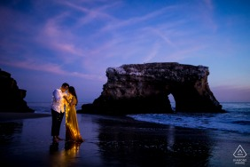 Santa Cruz pre wedding and engagement photography at the Natural Bridges of California After sunset lit with lights