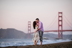 California pre wedding portrait session with engaged lovers at the San Francisco Golden Gate Bridge