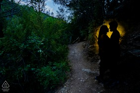 Jaen pre wedding and engagement photography at dusk in the trees of Cazorla, Jaén