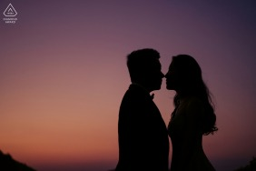 China engagement portrait with a posed couple in Guangdong on a mountaintop with Time still