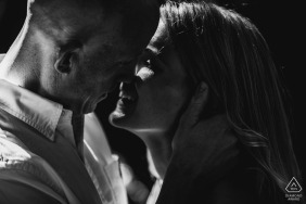 Spoleto Italy headshot of the couple during the black and white engagement photo shoot