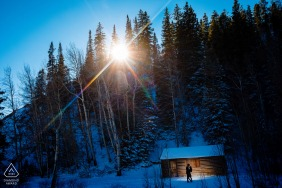 Colorado pre wedding and engagement photography catching the last winter light in Breckenridge, CO