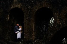 England engagement portrait with a posed couple under a bridge at Rivinngton Pike