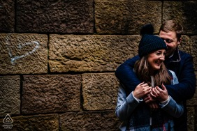 United Kingdom pre wedding portrait session with engaged lovers at Liverpool Castle, Rivington Pike
