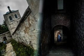 Turkey pre-wedding photo shoot with a couple creatively framed in Istanbul, Suleymaniye