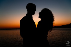 IT engagement photo shoot from Portopiccolo, Trieste, Italyusing some creative Sunset silhouettes