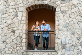 IT pre wedding portrait session with engaged lovers in Portopiccolo, Trieste, Italy with some creative Framed happiness