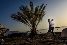 Spain pre-wedding photo session with an engaged couple in Aguilas Murcia during a Sunset at the beach