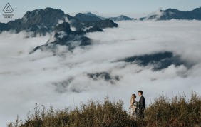 Pre wedding and engagement photography above Sapa - Vietnamof a Couple who spent 4 hours hiking to the top of the mountain