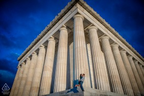 DC engagement photo shoot in Washington at a Lincoln Memorial Sunrise