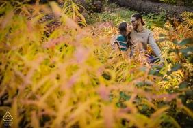 California wedding photography at Skylandia Beach Tahoe City, CA with a couple embracing among fall colors