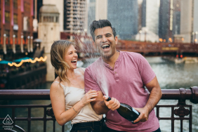 LaSalle Street Bridge pre-wed image session with some cool Champagne Spray