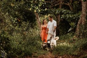 Praia dos Hóspedes, Aracruz, Espírito Santo, Brazil engagement photoshoot - couple with dog in forest