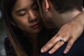 Paris Engagement ring detail during an artistic engagement photo session