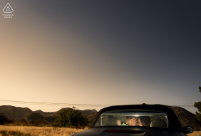 Aguilas Murcia Car and sunset pre-wed image session with a clear sky