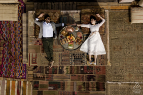 Turkey sultan cave hotel engagement photo session - shot from above