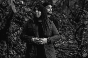 Tennessee Black and white portrait of the couple in the middle of the woods in the mountains of Great Smoky Mountains National Park