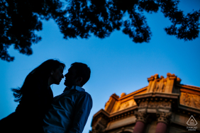 San Francisco silhouette by the Palace during an outdoor pre-wed portrait photo shoot