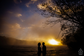 Richmond VA Sunrise on the River pre-wed couple picture