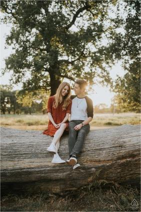 Richmond Park, Londres, Inglaterra, mini sessão de fotos de casais sentados em um tronco muito grande antes do dia do casamento