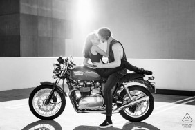 Perth, Western Australia mini urban pic shoot before the wedding day on the parking garage roof with a Triumph motorcycle