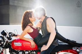 Perth, Western Australia mini urban pic shoot before the wedding day with a beautiful minute together on a Triumph motorcycle