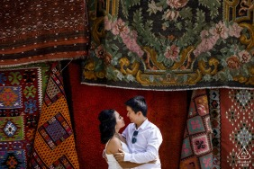 Goreme, Cappadocia, Turkey mini couple photo session before the wedding day surrounded by the market carpets
