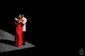 Perth pre wedding portrait session with a beautiful couple and a red dress