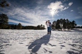 Evergreen, Colorado winter couple portrait, an adventurous session in the foothills of the Rockies