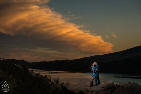 Fort Collins, Colorado sunset couple portrait at the foothills overlooking a large reservoir