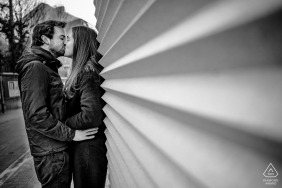 Hasselt street engagement photo shoot in black and white