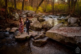 Rockville, MD outside forest picture session before the wedding day by the water creek with warm tones