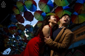 Sultanahmet, Istanbul urban pic shoot before the wedding day under the rainbow colorful umbrellas with a light