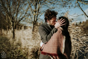 Charente engaged couple picture session on a cold and blustery day