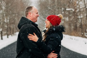North Bennington pre - wed image showing the couple after the first snow of the season