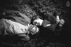 Ceparana Bolano engaged couple picture session in BW on the grass with just You and Me
