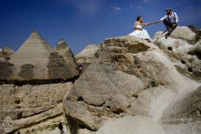 Cappadocia pre - wed image session at the sunrise under the blue skies